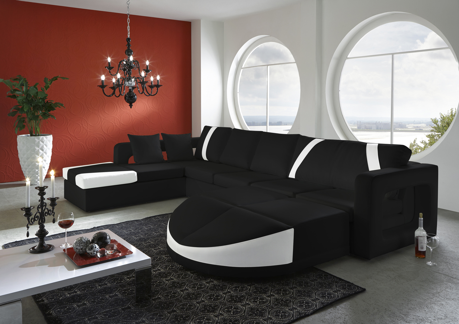 sam sofa schwarz wei diamante wohnlandschaft 215 x 336 x 210 cm links bestellw. Black Bedroom Furniture Sets. Home Design Ideas