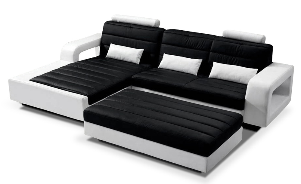 sam ecksofa schwarz wei sofa new york 188 x 310 cm. Black Bedroom Furniture Sets. Home Design Ideas