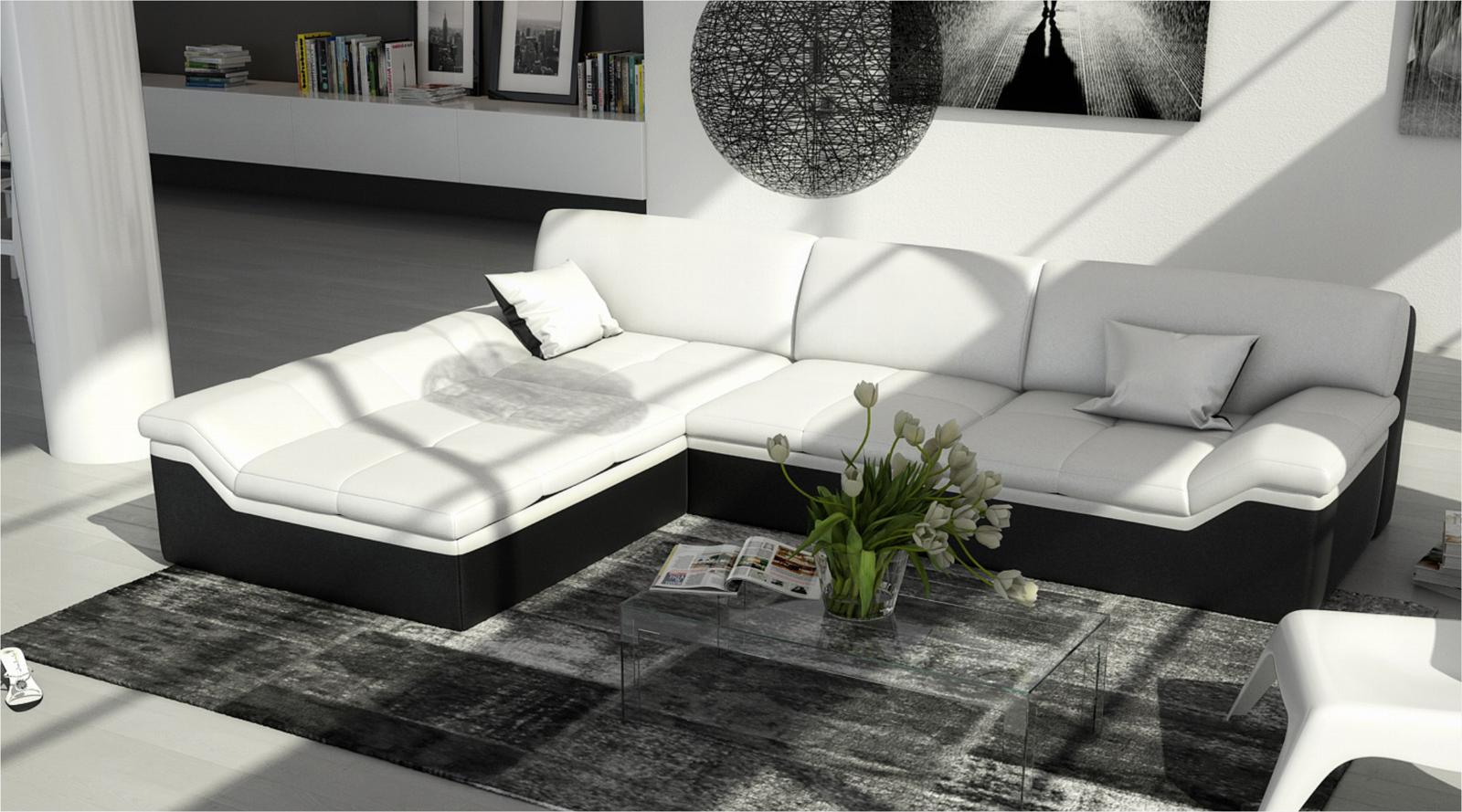 sam ecksofa wei schwarz mistico polsterecke 220 x 270 cm bestellware. Black Bedroom Furniture Sets. Home Design Ideas