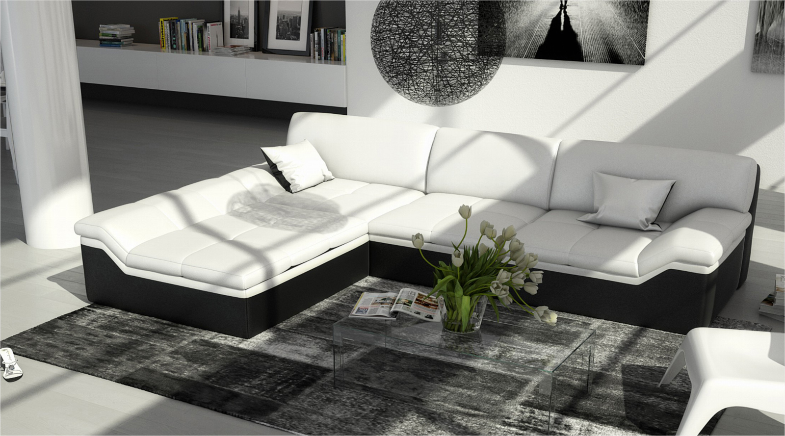 sam ecksofa wei schwarz mistico polsterecke 220 x 270 cm. Black Bedroom Furniture Sets. Home Design Ideas