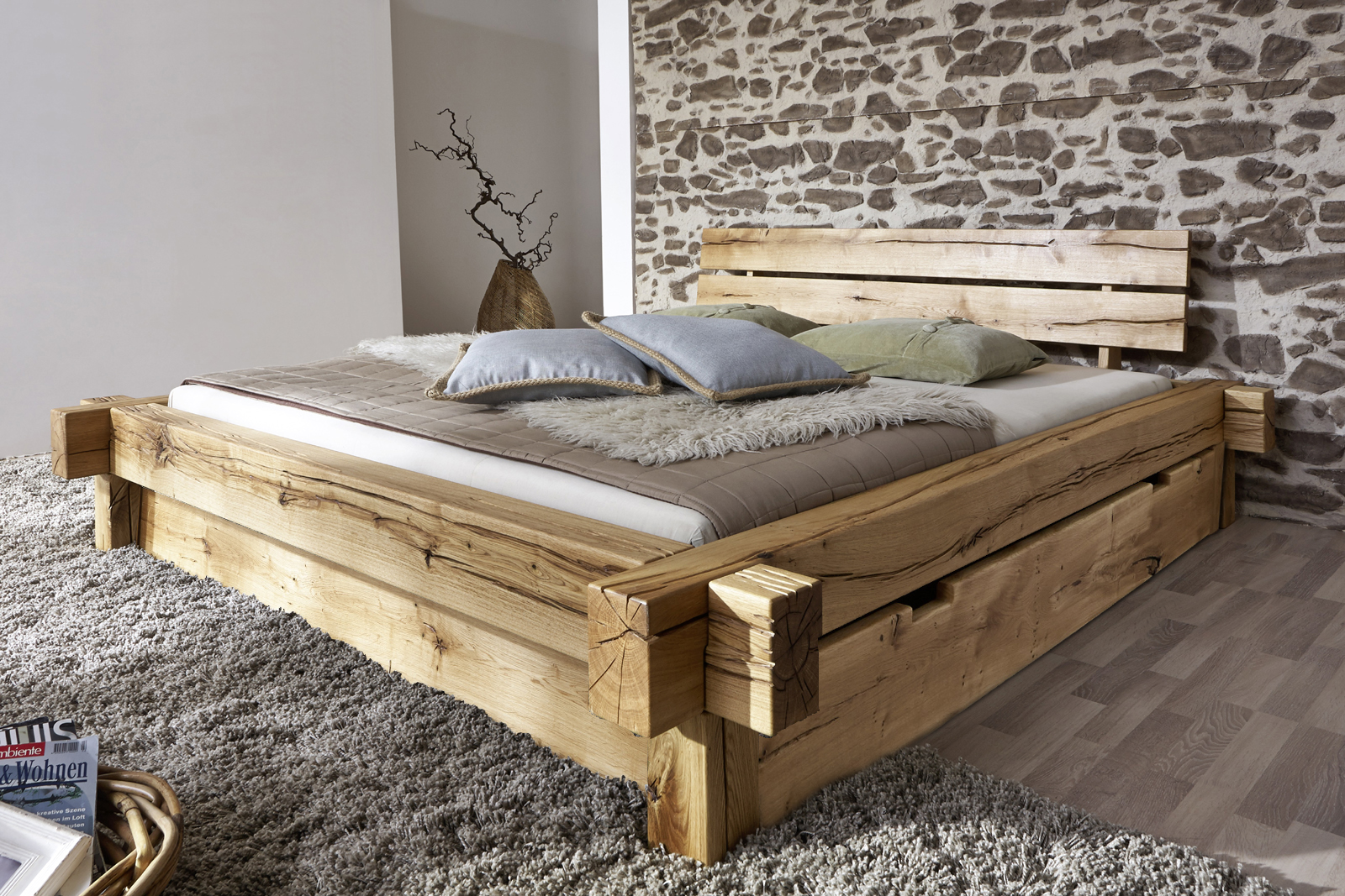 Sam balkenbett jonas holzbett mit schubk sten 180x200 cm for Holzbett selber bauen