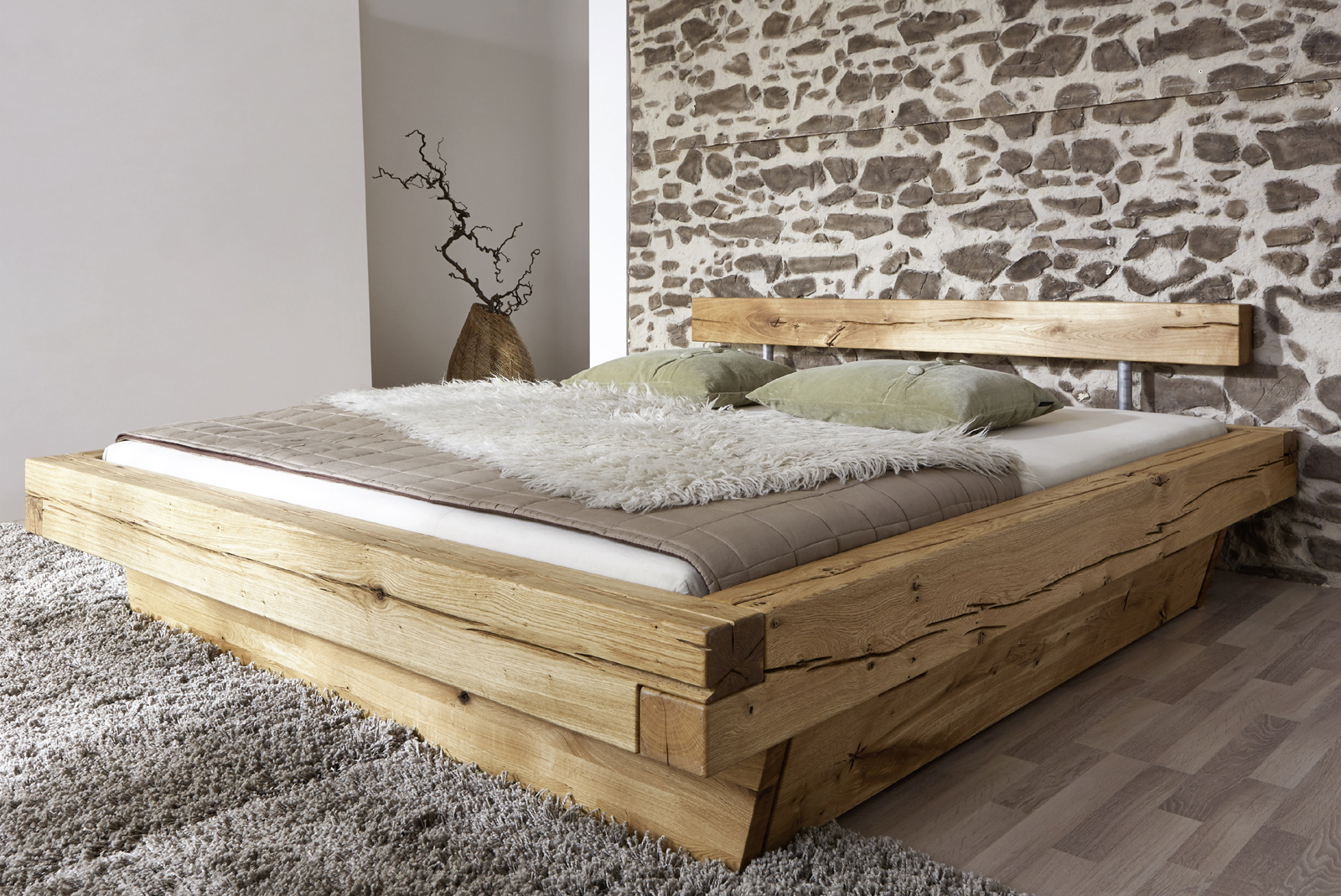 bett 180x200 holzbett mit bettkasten kiefer massiv weiss. Black Bedroom Furniture Sets. Home Design Ideas