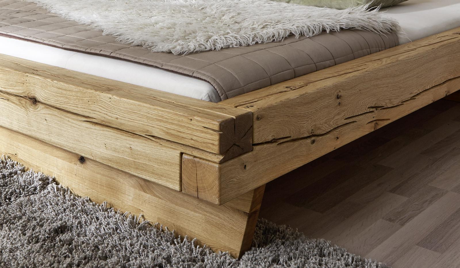 sam balkenbett jakob wildeiche holzbett 200 x 200 cm. Black Bedroom Furniture Sets. Home Design Ideas