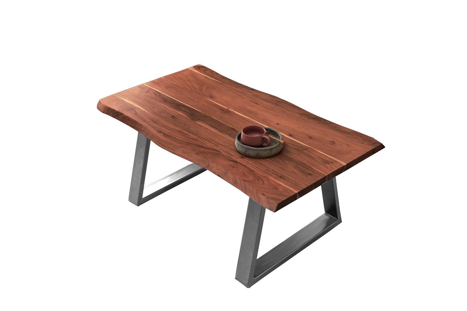 Couchtisch Baumkante 120x70 cm Akazie nussbaumfarben silber MATTEO