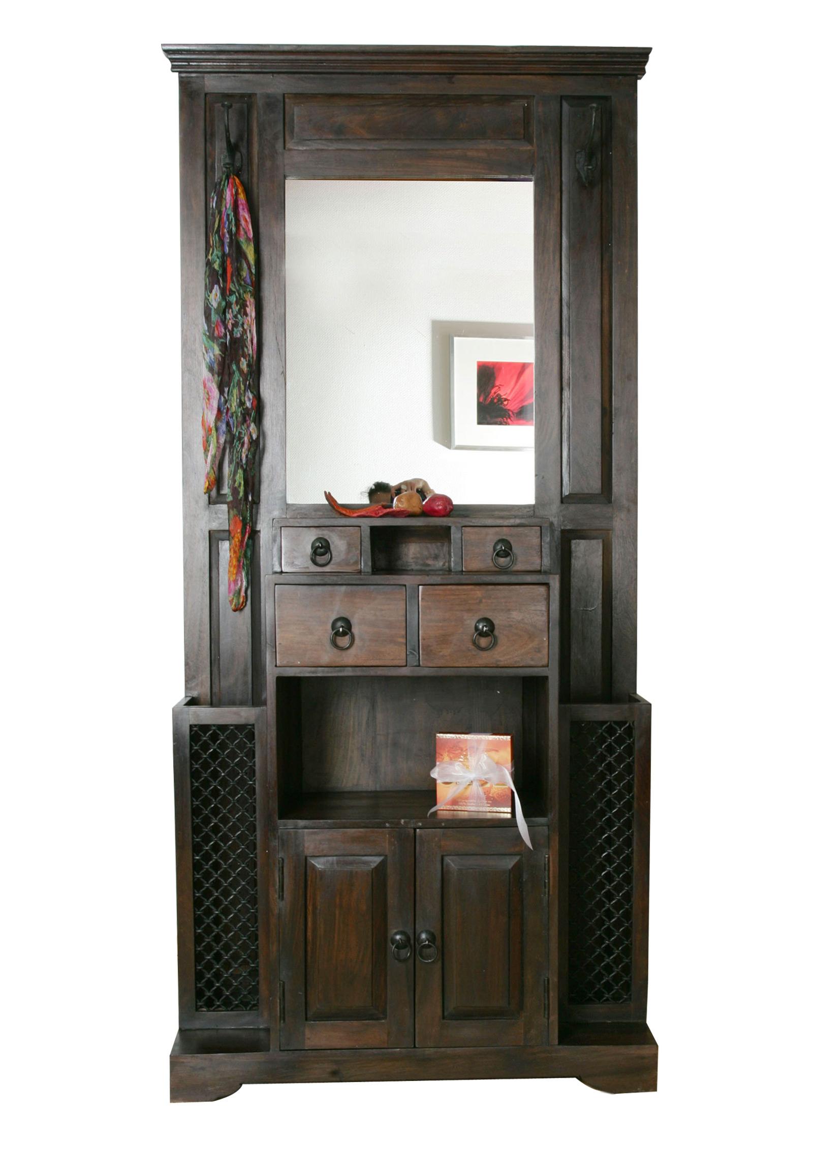 sam sheesham garderobe walnuss 5 schubladen 198cm bombay. Black Bedroom Furniture Sets. Home Design Ideas