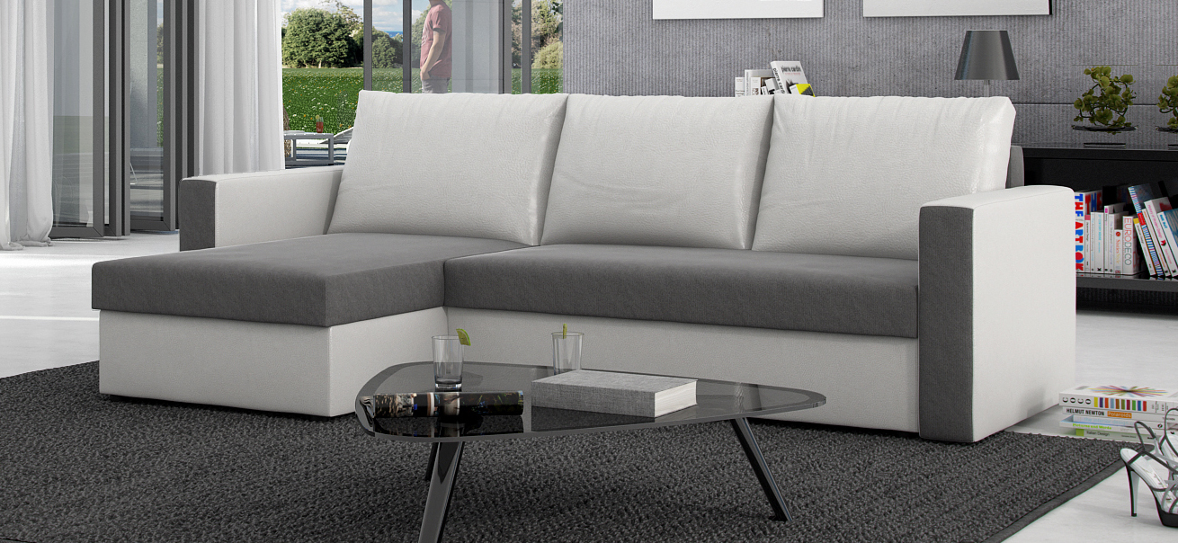 sam ecksofa grau wei schlafsofa besiana 145 x 236 cm auf lager. Black Bedroom Furniture Sets. Home Design Ideas