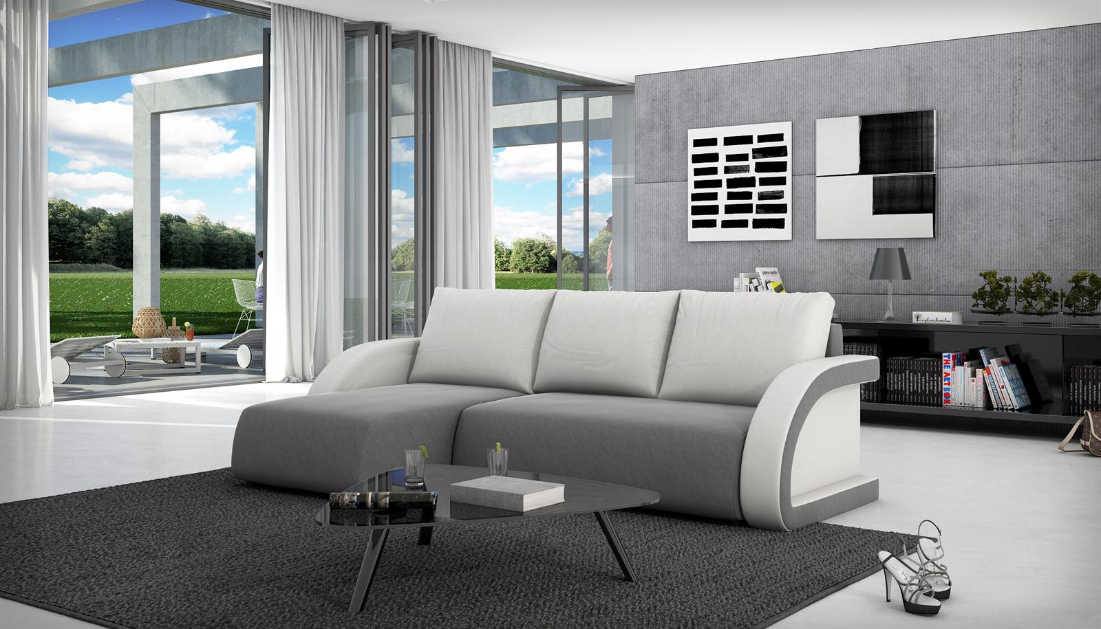 sam schlafsofa grau wei ecksofa azulia 145 x 236 cm auf. Black Bedroom Furniture Sets. Home Design Ideas