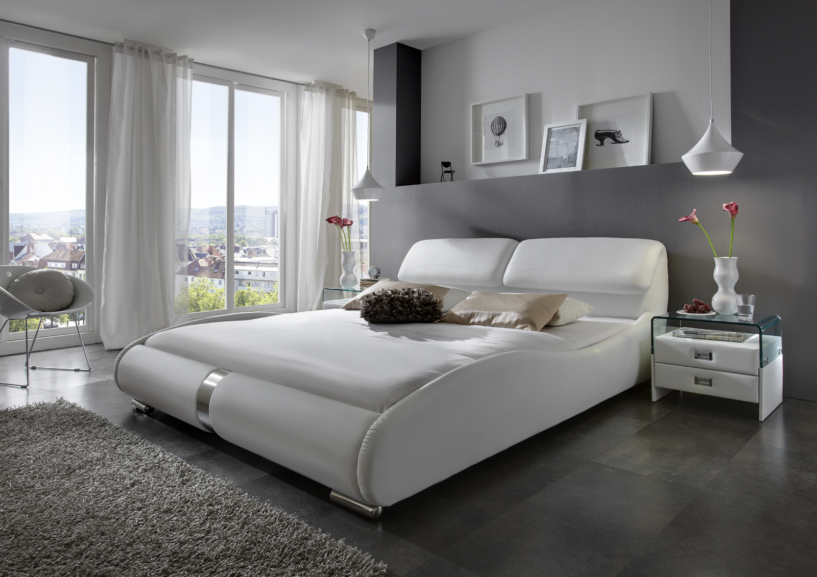sam polsterbett 140 cm wei lucca auf lager. Black Bedroom Furniture Sets. Home Design Ideas