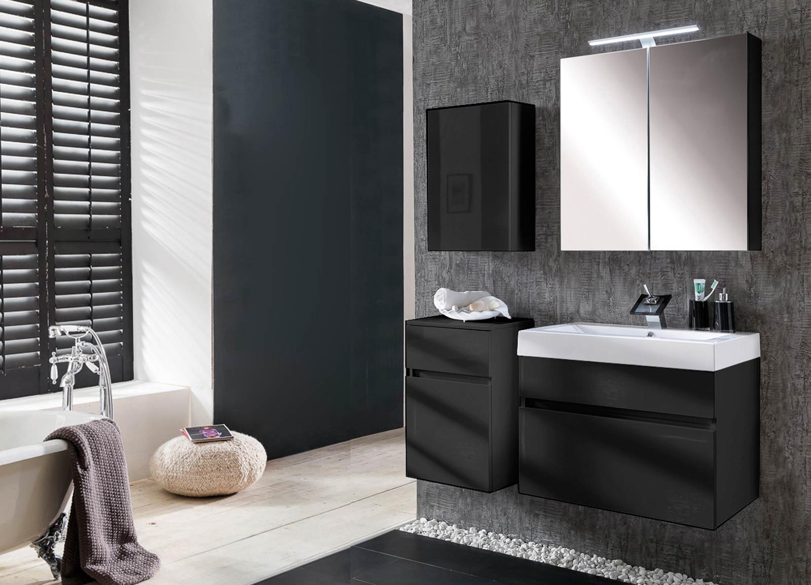 sam badezimmerm bel parma 4tlg schwarz hochglanz 70 cm auf lager. Black Bedroom Furniture Sets. Home Design Ideas