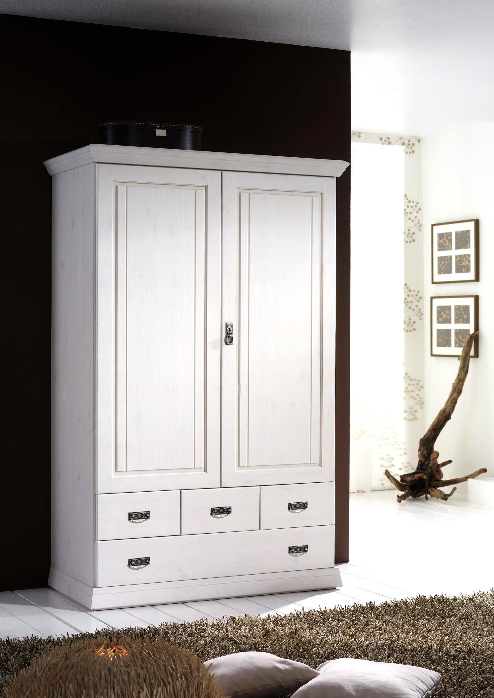 sam kleiderschrank 2 t rig wei kiefernholz odette auf. Black Bedroom Furniture Sets. Home Design Ideas