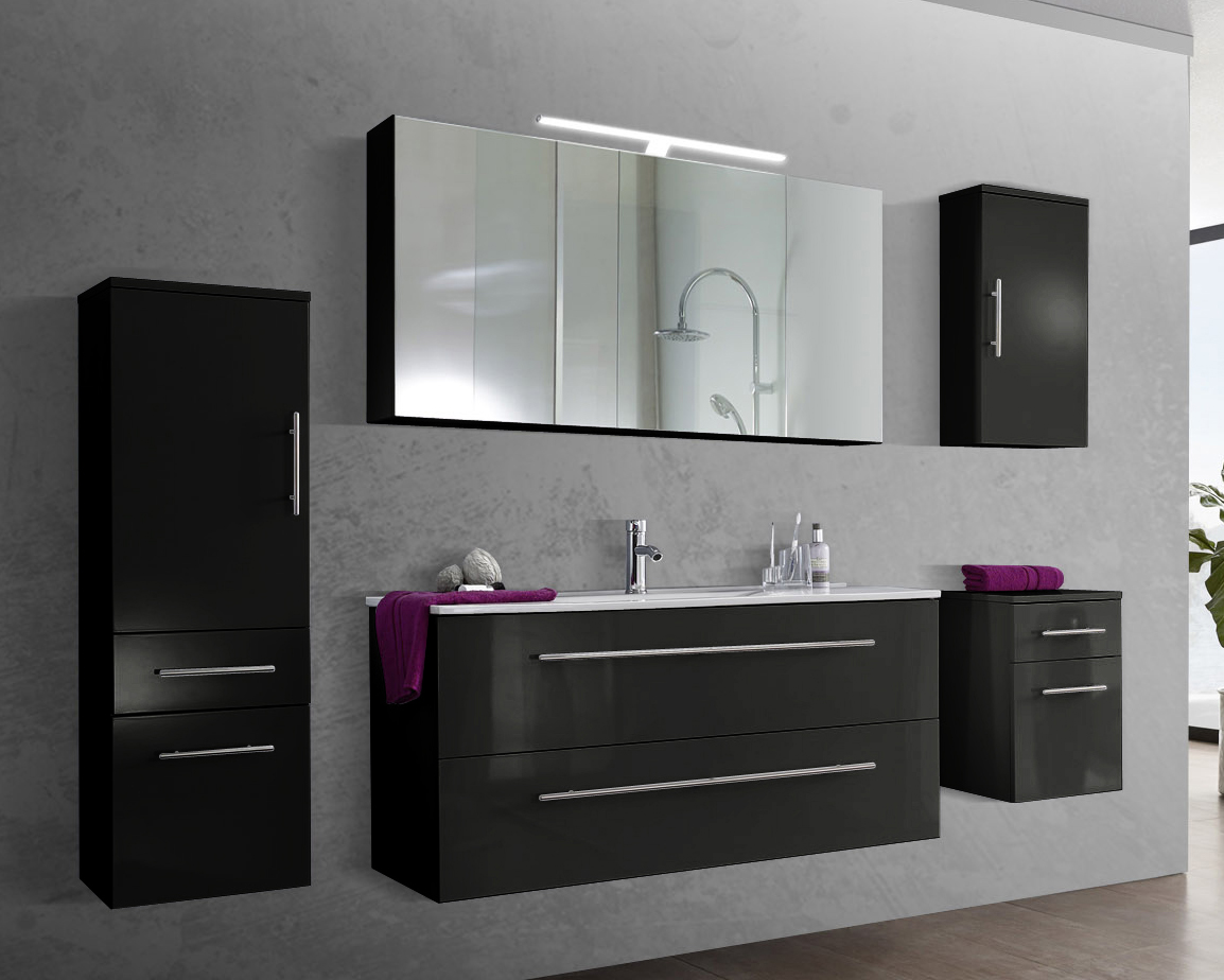 sam 5tlg badezimmer set spiegelschrank schwarz 120 cm verena auf lager. Black Bedroom Furniture Sets. Home Design Ideas