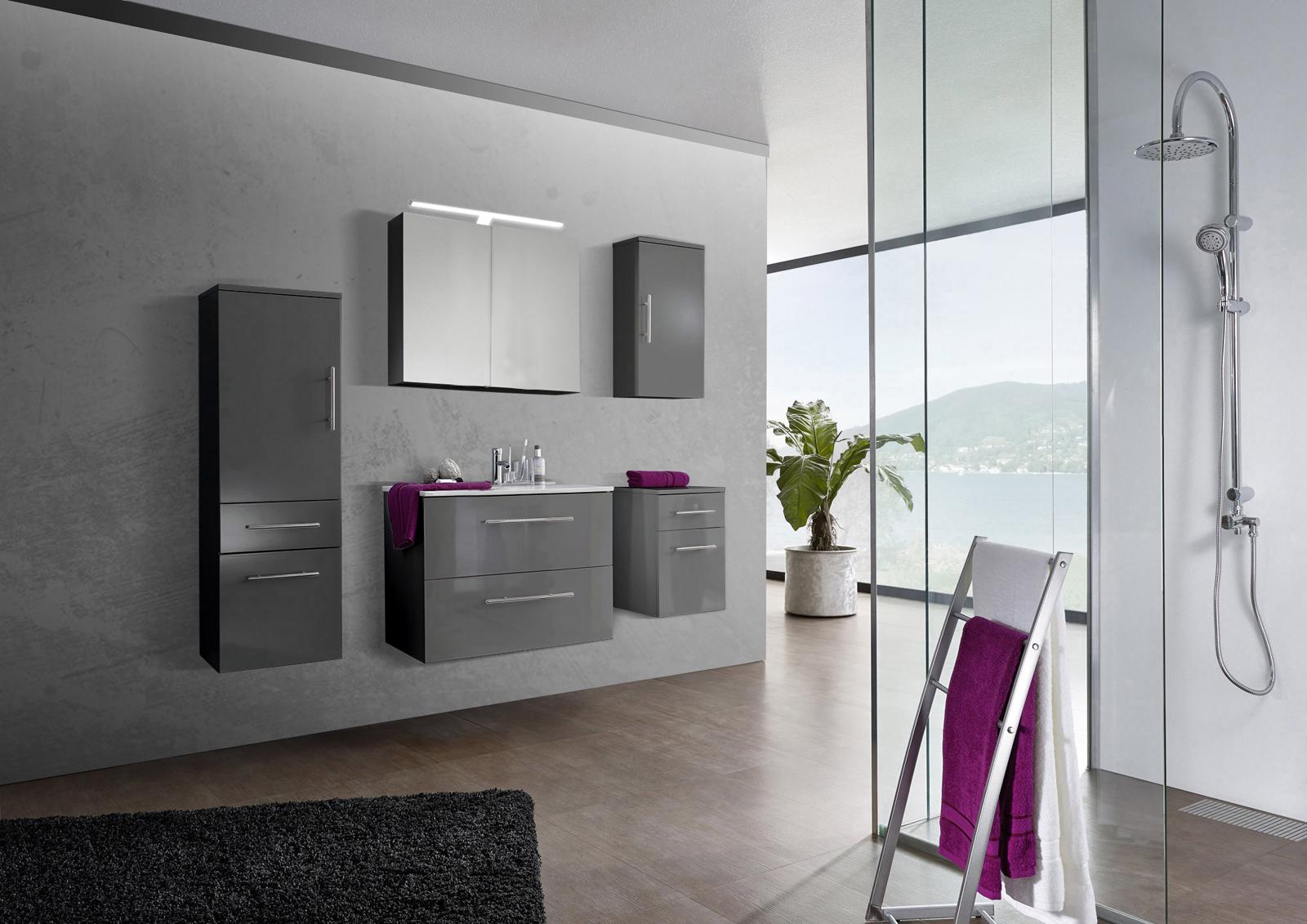 sam 5tlg badezimmer set spiegelschrank grau 80 cm verena. Black Bedroom Furniture Sets. Home Design Ideas