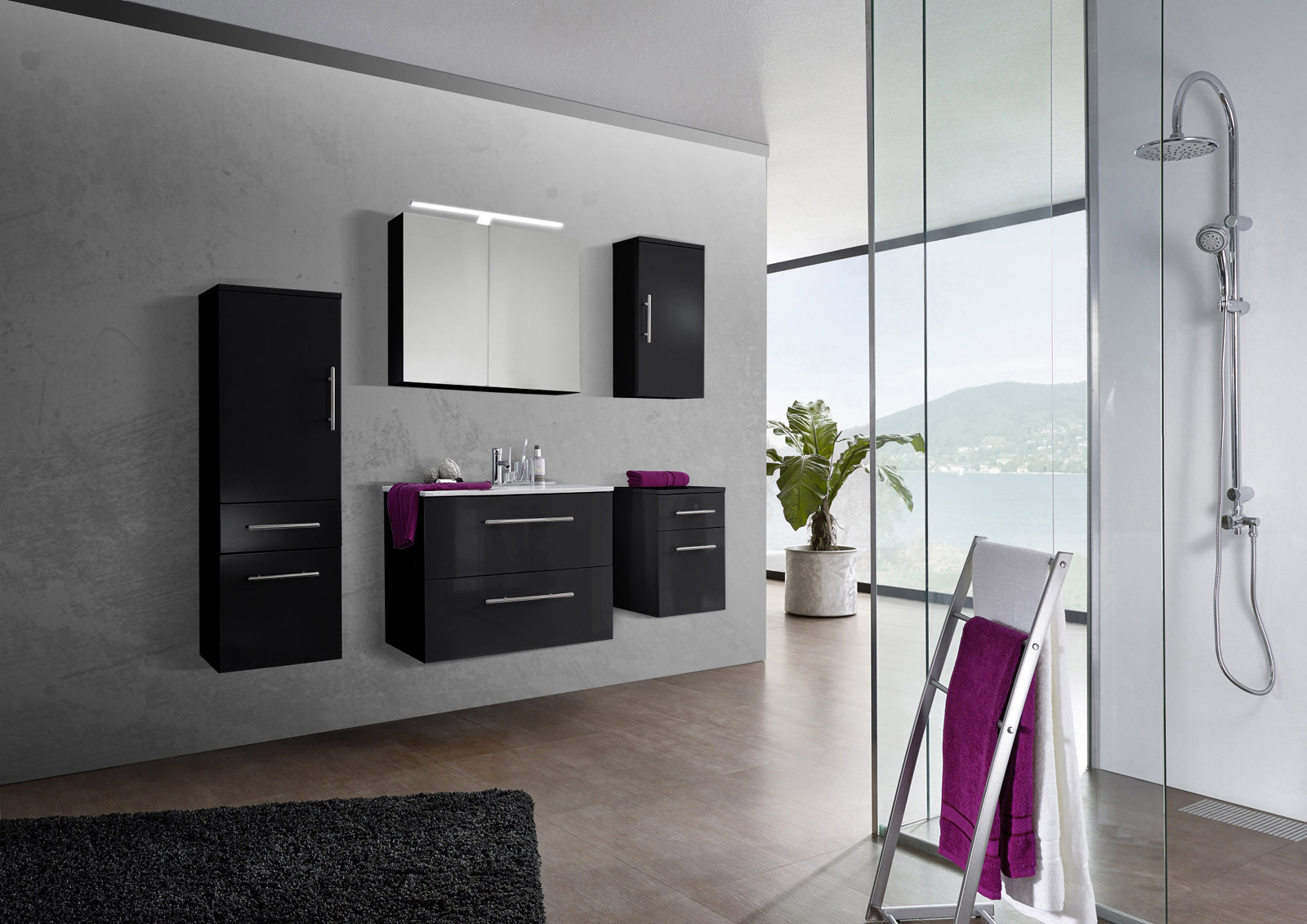 sam 5tlg badezimmer set spiegelschrank schwarz 80 cm verena auf lager. Black Bedroom Furniture Sets. Home Design Ideas