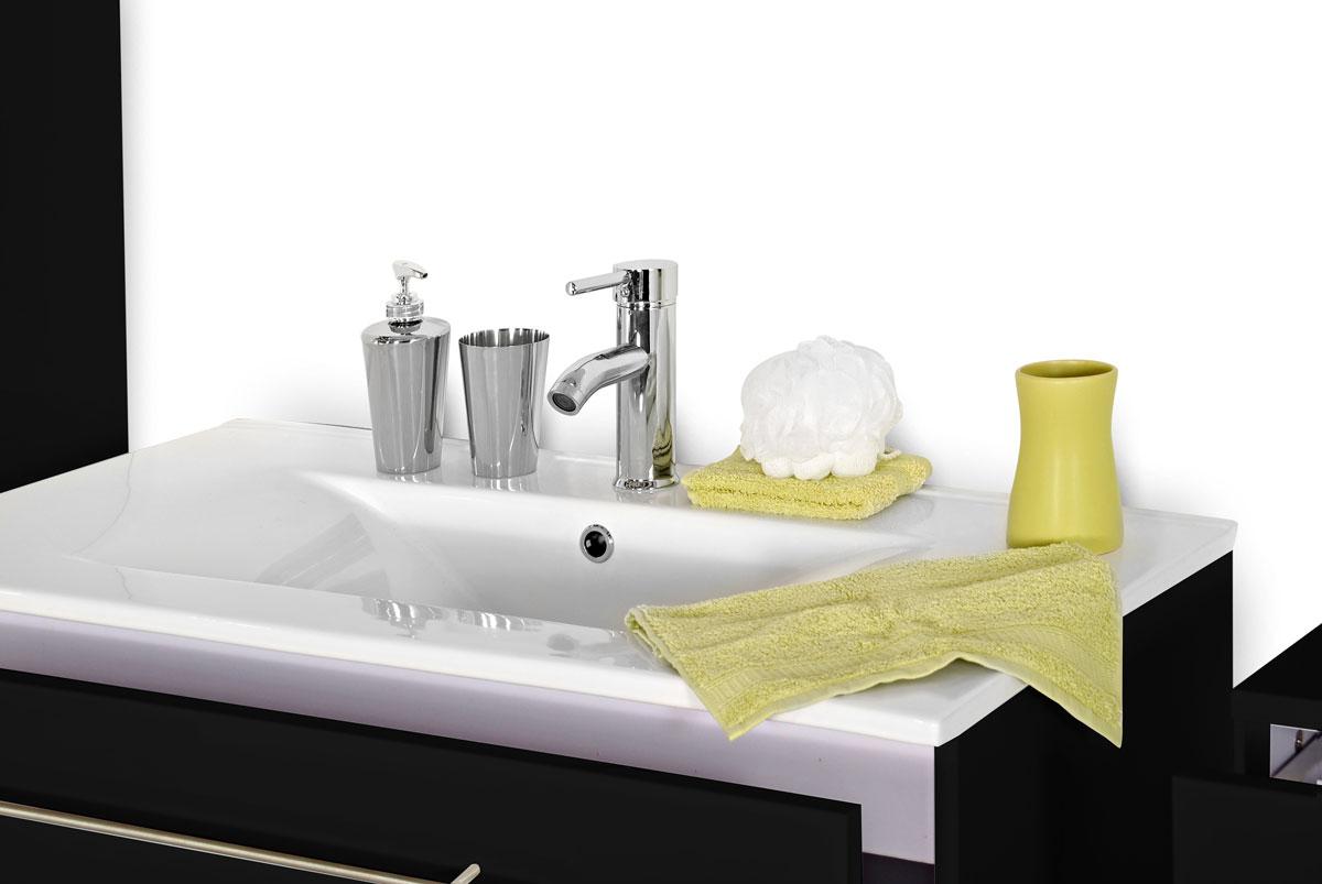 Sam 5tlg badezimmer set spiegelschrank schwarz 80 cm for Badezimmer set mit spiegelschrank