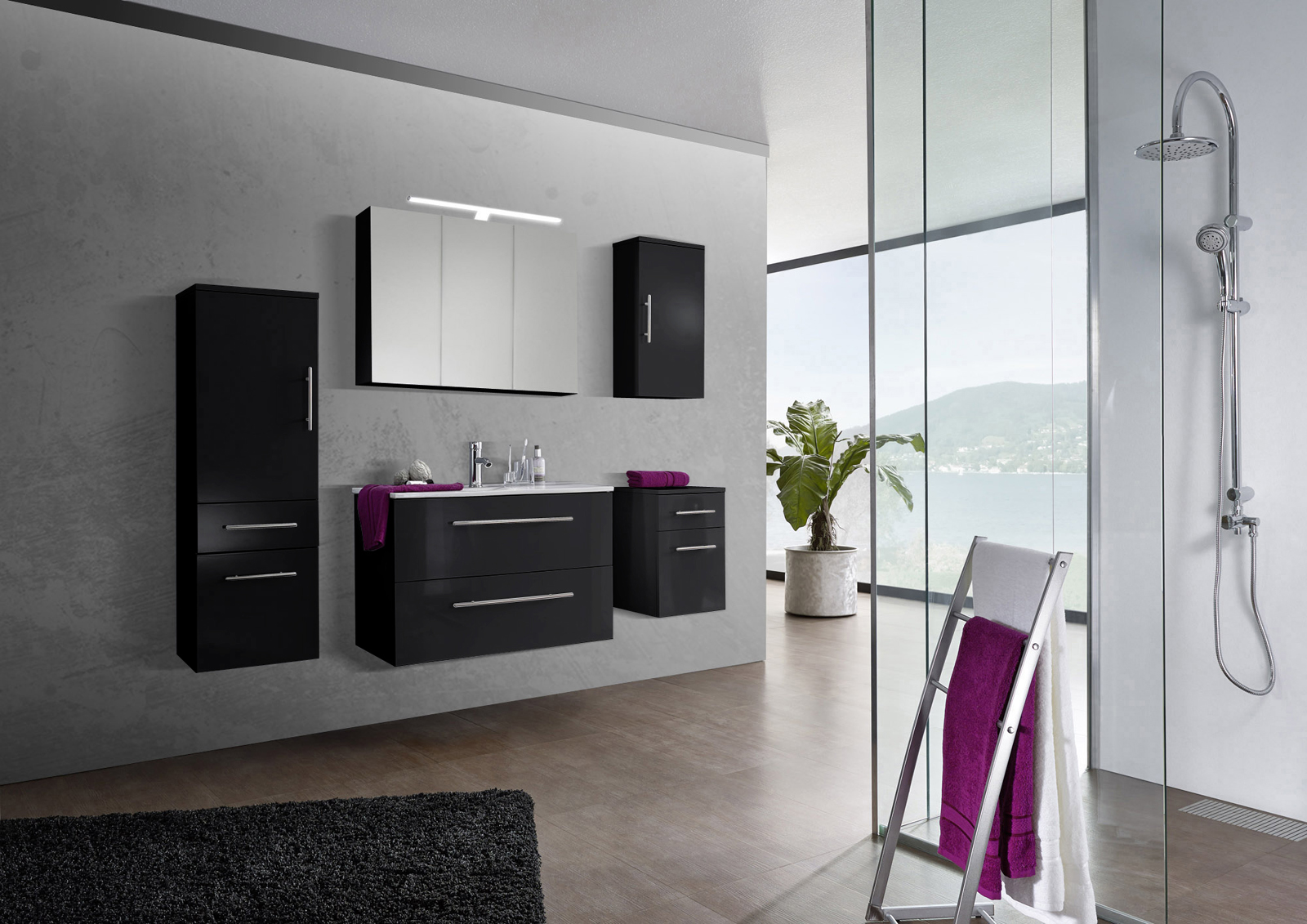 sam 5tlg badezimmer set spiegelschrank schwarz 90 cm verena auf lager. Black Bedroom Furniture Sets. Home Design Ideas