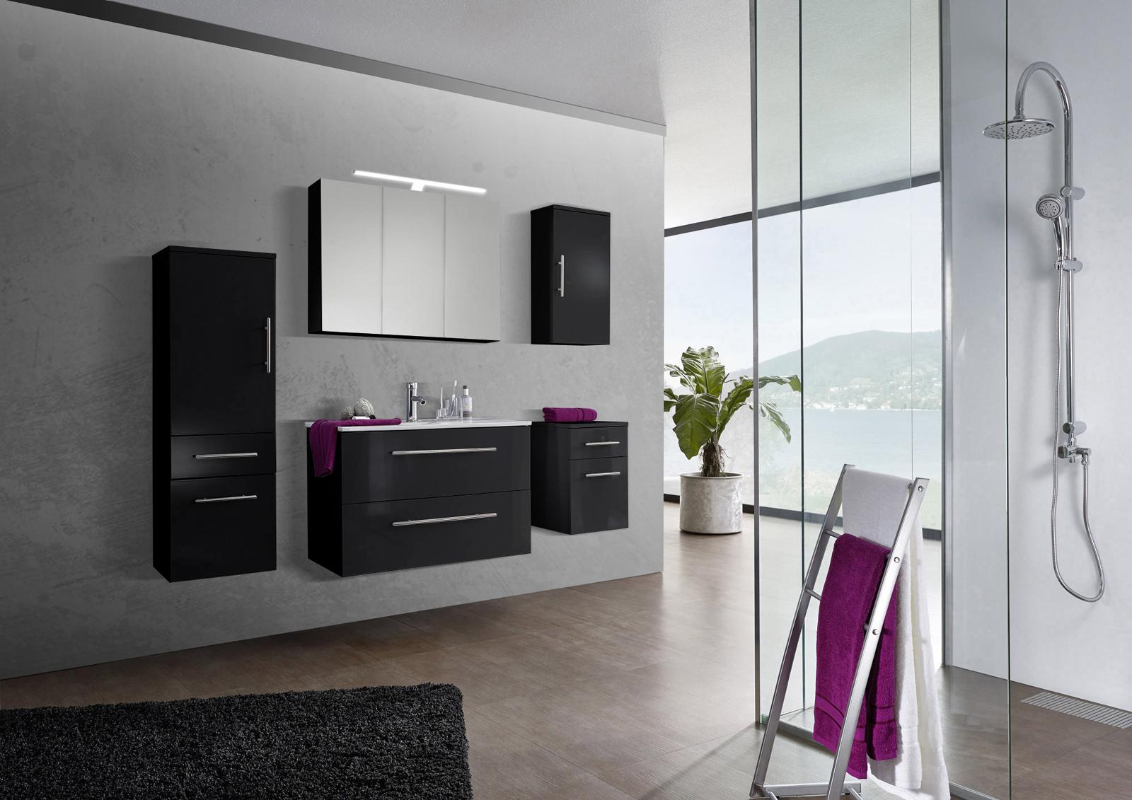 Sam 5tlg badezimmer set spiegelschrank schwarz 90 cm for Badezimmer 90 cm