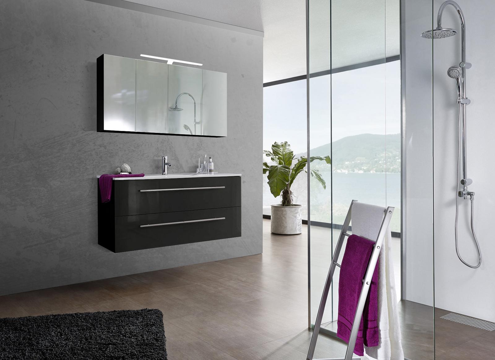 sam 2tlg badezimmer set spiegelschrank schwarz 120 cm verena auf lager. Black Bedroom Furniture Sets. Home Design Ideas
