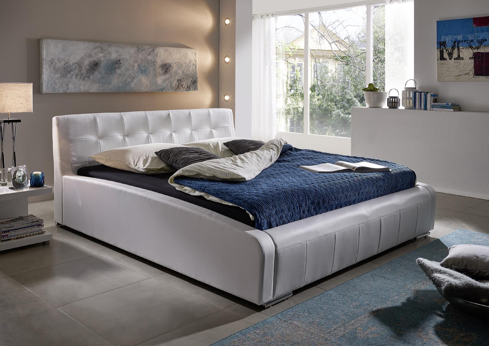 sam design bett 140 x 200 cm wei elena auf lager. Black Bedroom Furniture Sets. Home Design Ideas