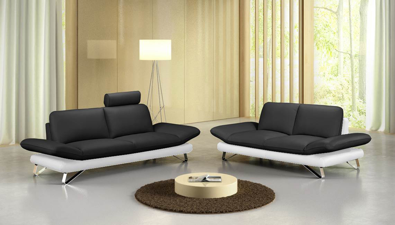 sam design sofa garnitur 2 3 sitzer schwarz wei taifun. Black Bedroom Furniture Sets. Home Design Ideas