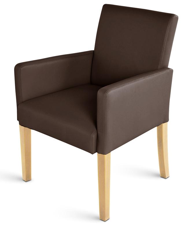Sam design echt leder armlehnstuhl braun buche sidney auf for Armlehnstuhl esszimmer leder