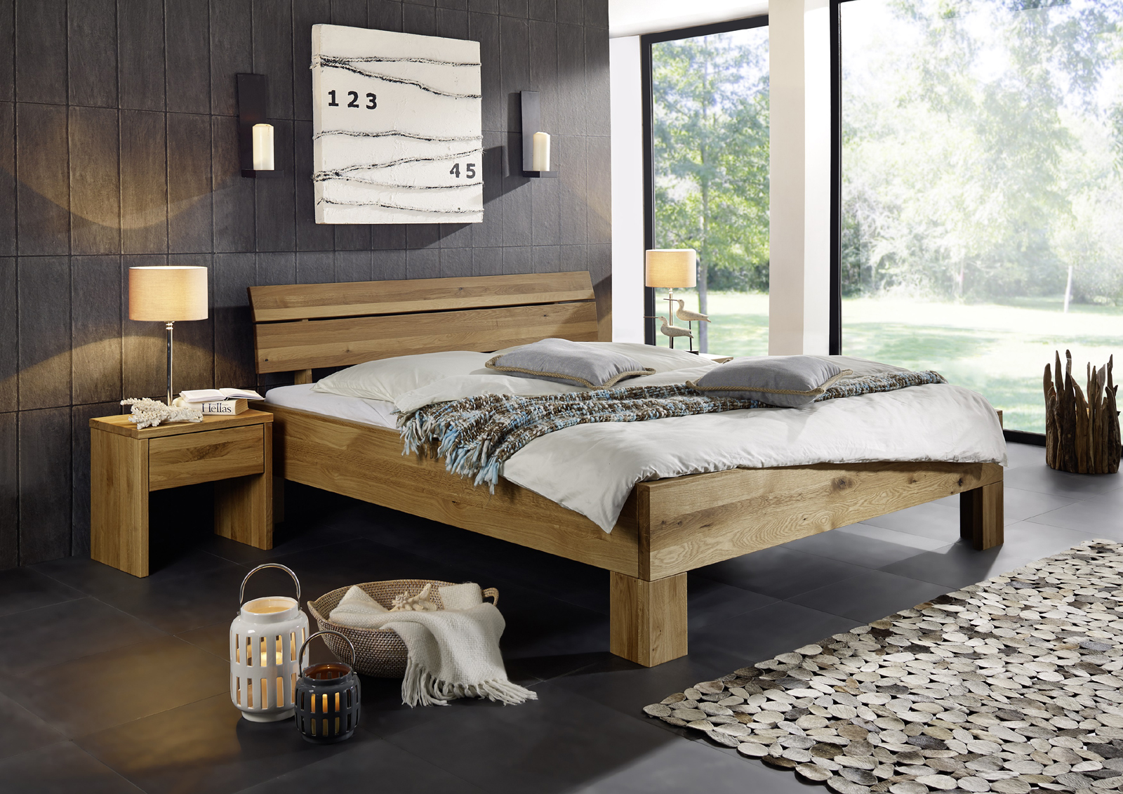 sam massivholzbett oliver ii massive wildeiche 180x200 cm. Black Bedroom Furniture Sets. Home Design Ideas