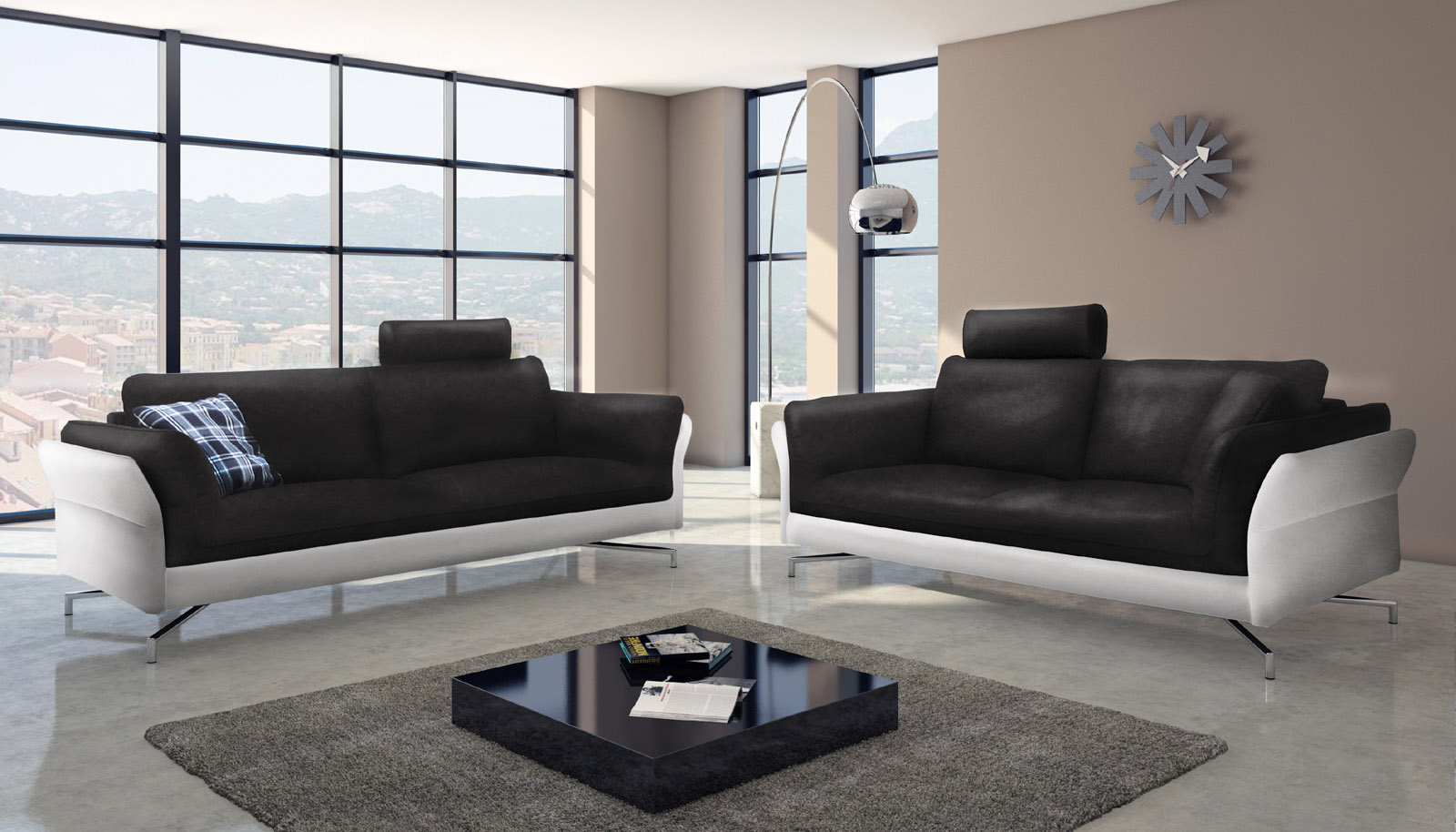 sam design sofa garnitur 2 3 sitzer schwarz wei vivano auf lager. Black Bedroom Furniture Sets. Home Design Ideas