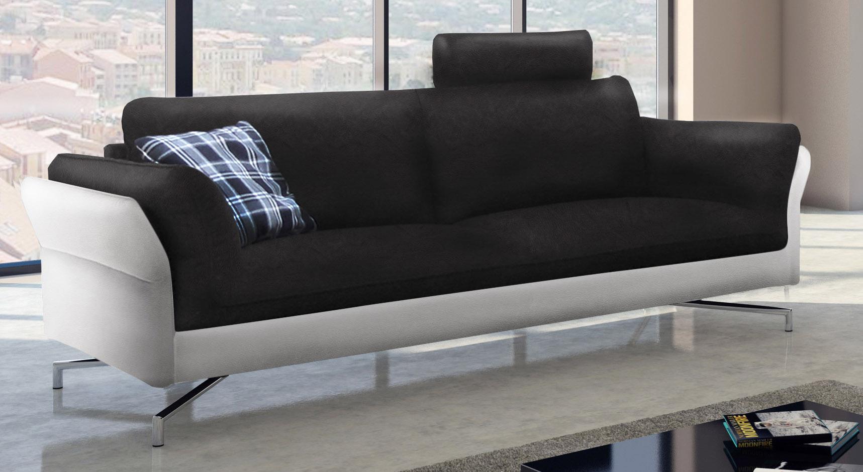 Sam design sofa garnitur 2 3 sitzer schwarz wei vivano for Sofa 0 finanzierung