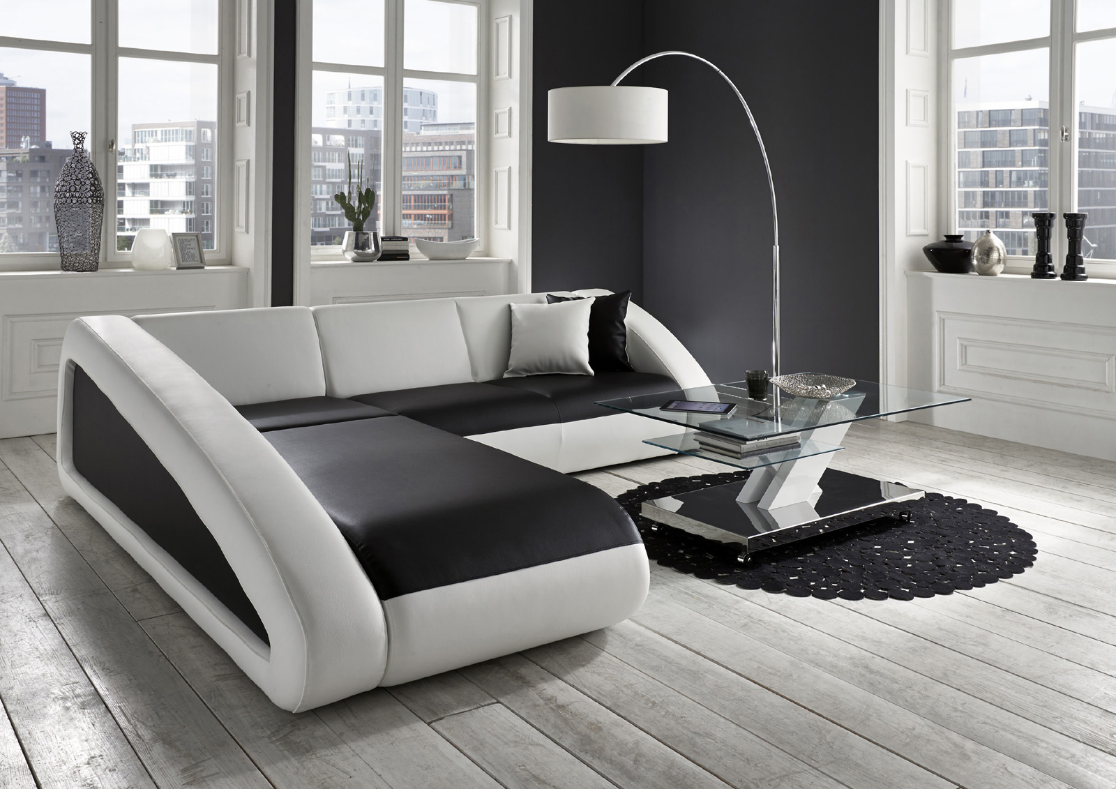 sam ecksofa schwarz wei ciao polsterecke 250 x 270 cm lieferbar. Black Bedroom Furniture Sets. Home Design Ideas