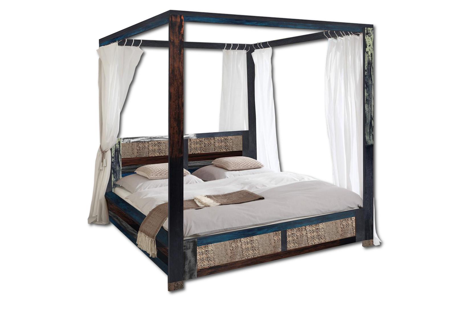 sam vintage himmelbett holzbett metall 140 x 200 cm bunt. Black Bedroom Furniture Sets. Home Design Ideas