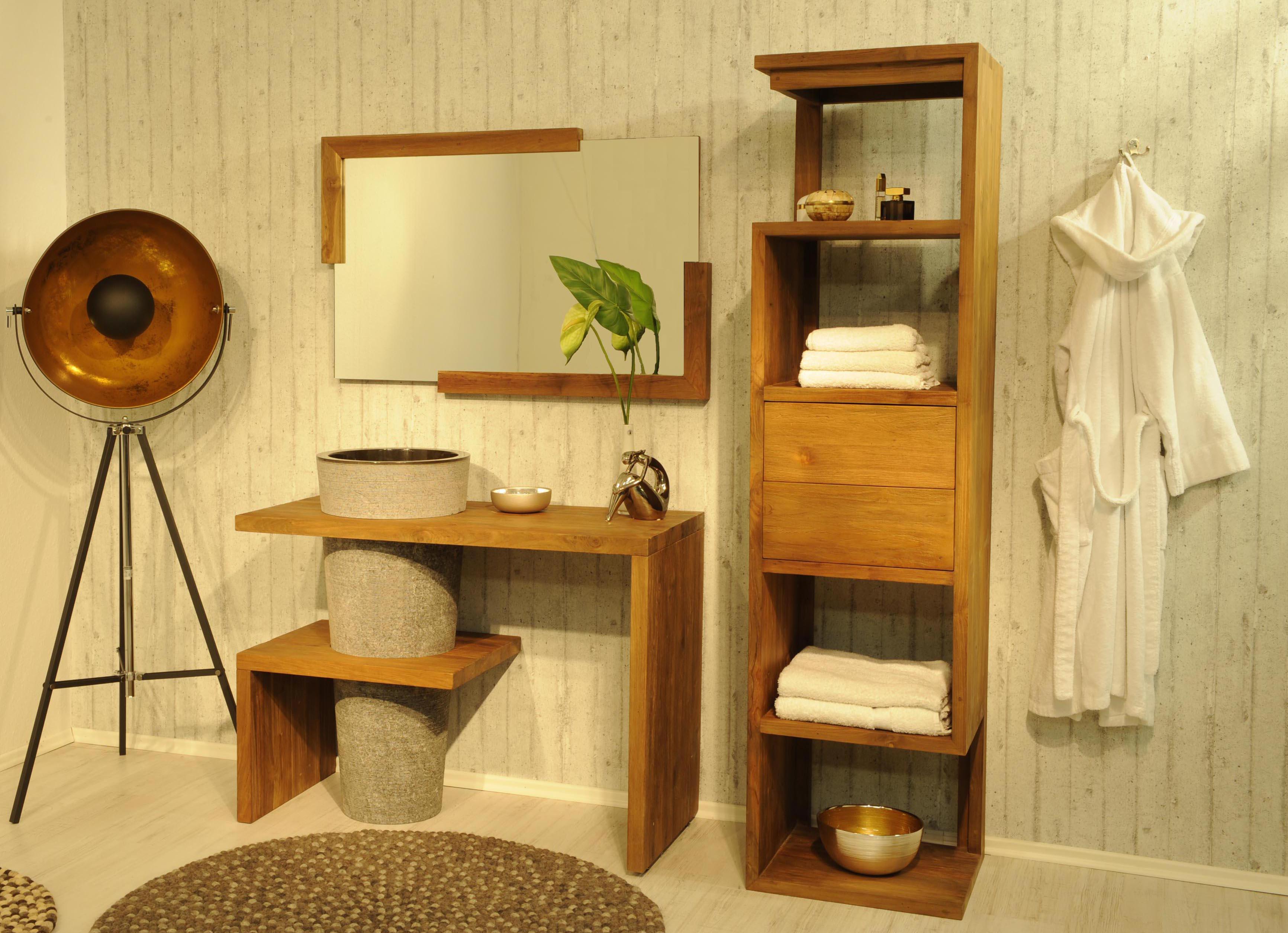 sam badm bel set teak marmor becken mit regal lombok auf. Black Bedroom Furniture Sets. Home Design Ideas