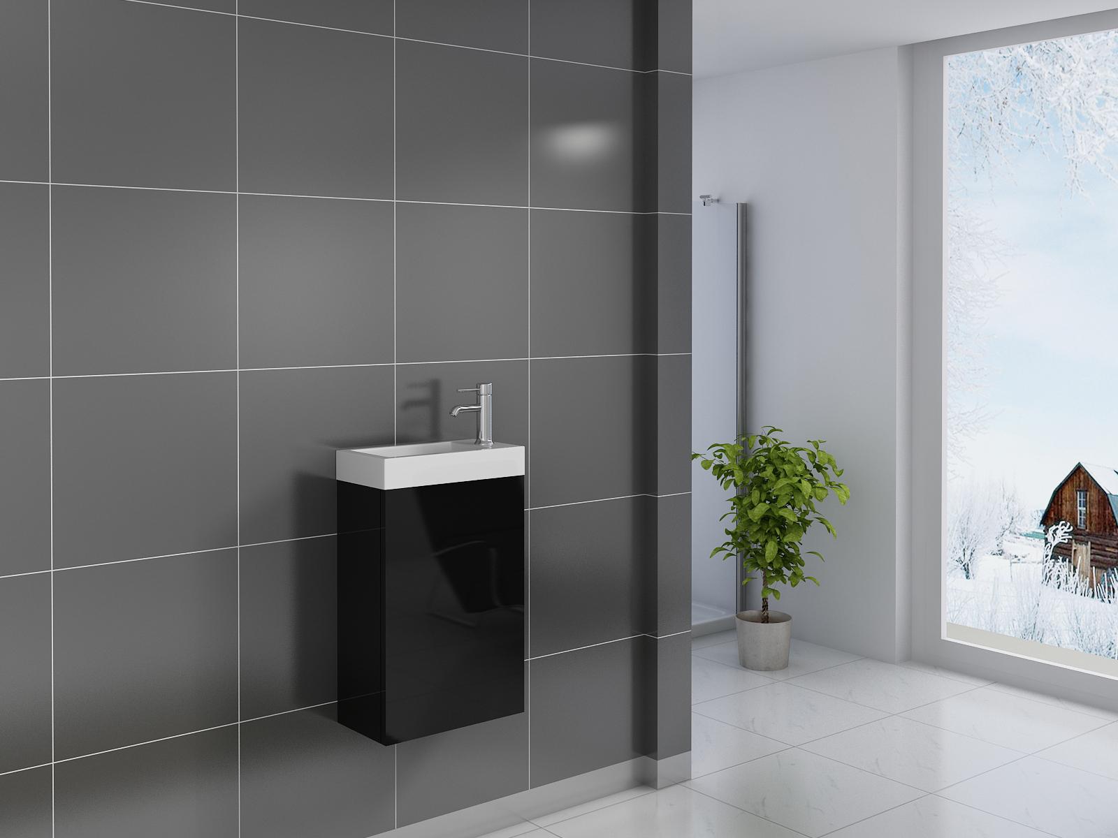 sam badezimmer waschplatz schwarz hochglanz vega auf lager. Black Bedroom Furniture Sets. Home Design Ideas