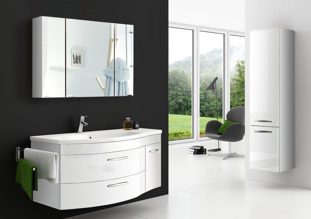 sam badm bel hochglanz wei 3tlg spiegelauswahl vena auf lager. Black Bedroom Furniture Sets. Home Design Ideas