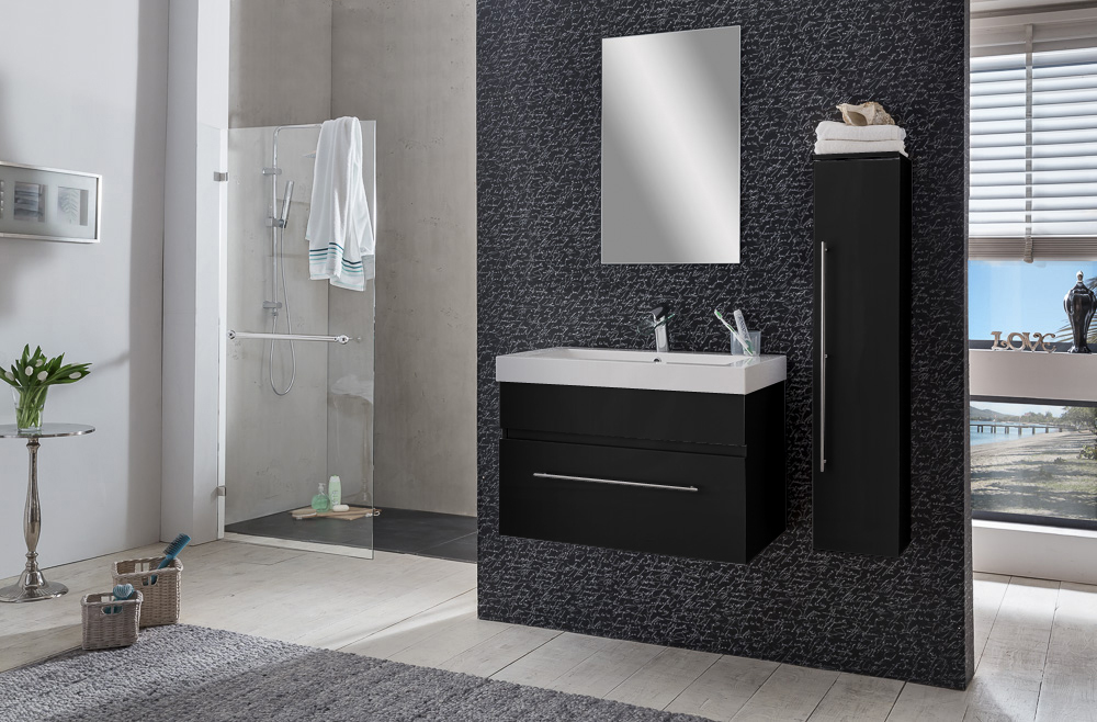 sam badezimmer set lunik 3tlg spiegelschrank schwarz 80 cm auf lager. Black Bedroom Furniture Sets. Home Design Ideas