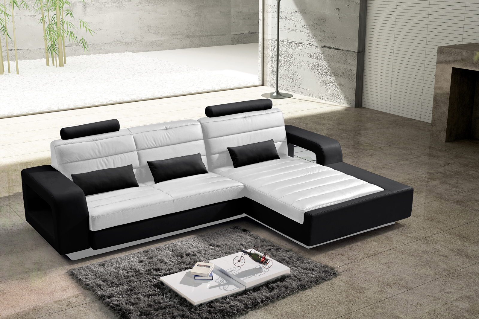 sam ecksofa wei schwarz polsterecke new york 310 x 188 cm links bestellware. Black Bedroom Furniture Sets. Home Design Ideas