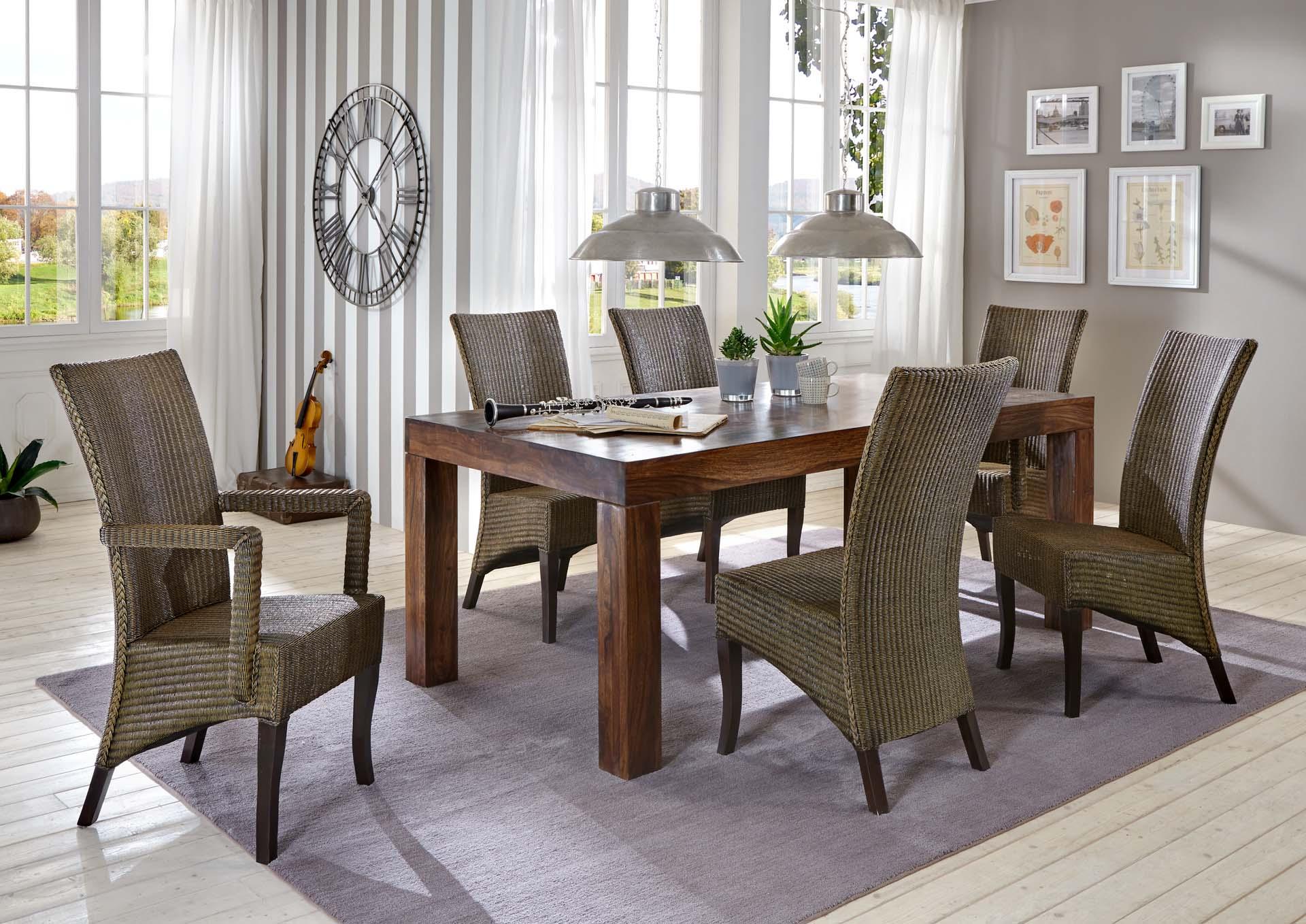 sam esszimmer tischgruppe 7tlg cubus 200 cm mai rattan. Black Bedroom Furniture Sets. Home Design Ideas