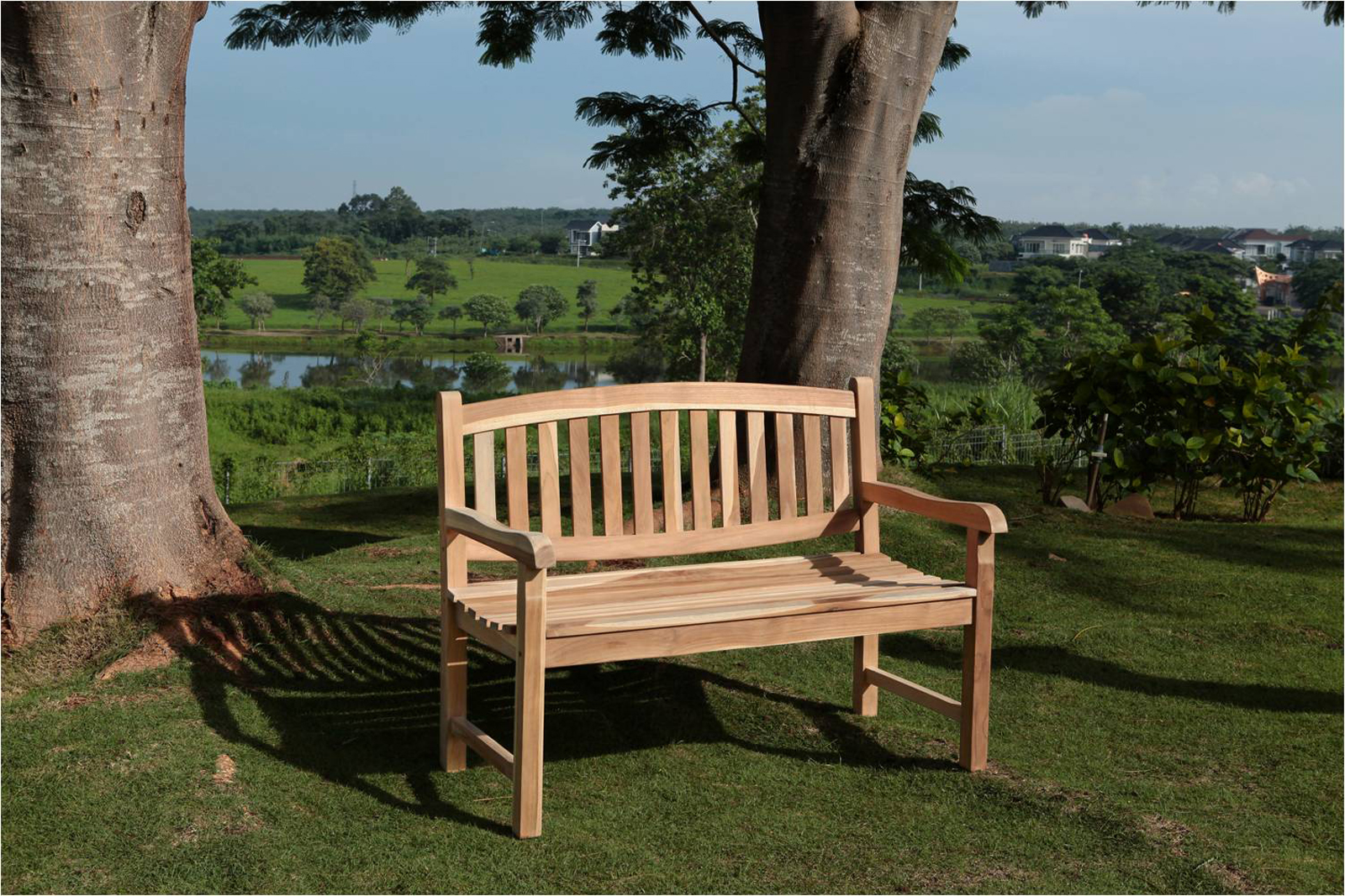 sam teak 2 sitzer gartenbank 120 cm olivera auf lager. Black Bedroom Furniture Sets. Home Design Ideas