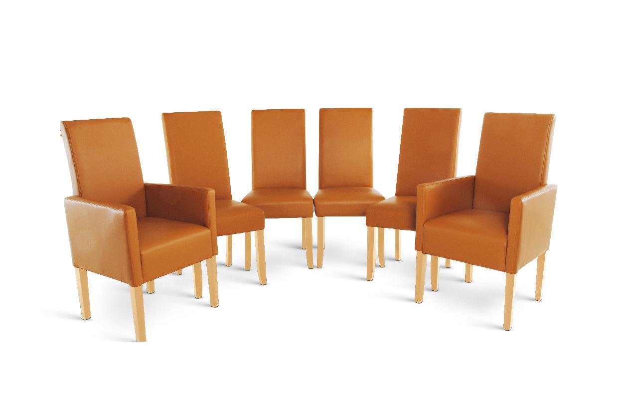 Sam stuhl set aus recyceltem leder cognac buchefarbig 4 2 auf lager - Stuhl leder cognac ...