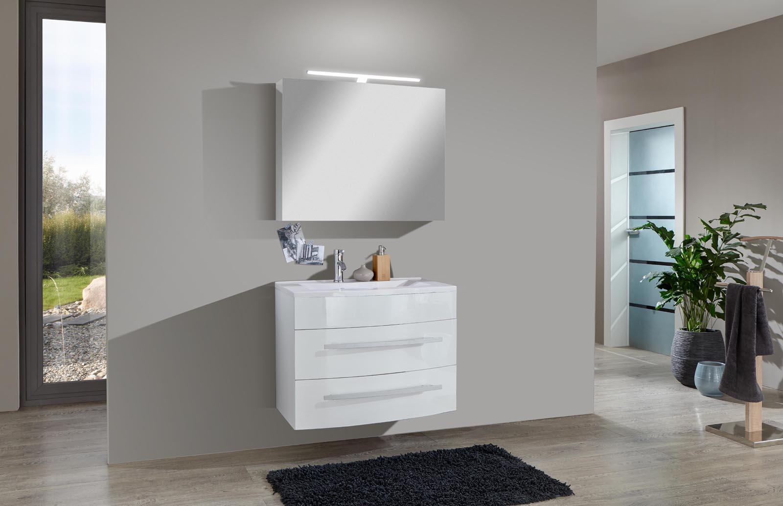 sam 2tlg badezimmer set hochglanz wei 70cm genf deluxe auf lager. Black Bedroom Furniture Sets. Home Design Ideas