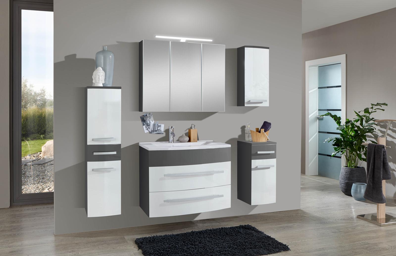 sam 5tlg badezimmer set hochglanz wei grau 80cm genf auf. Black Bedroom Furniture Sets. Home Design Ideas