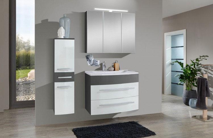 sam 3tlg badezimmer set hochglanz wei grau 70cm genf auf. Black Bedroom Furniture Sets. Home Design Ideas