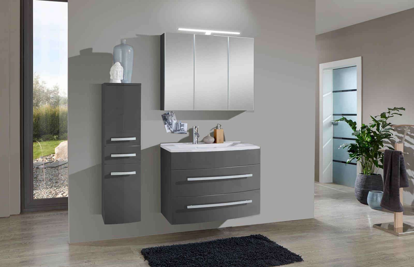 sam 3tlg badezimmer set hochglanz grau 70cm genf auf lager. Black Bedroom Furniture Sets. Home Design Ideas