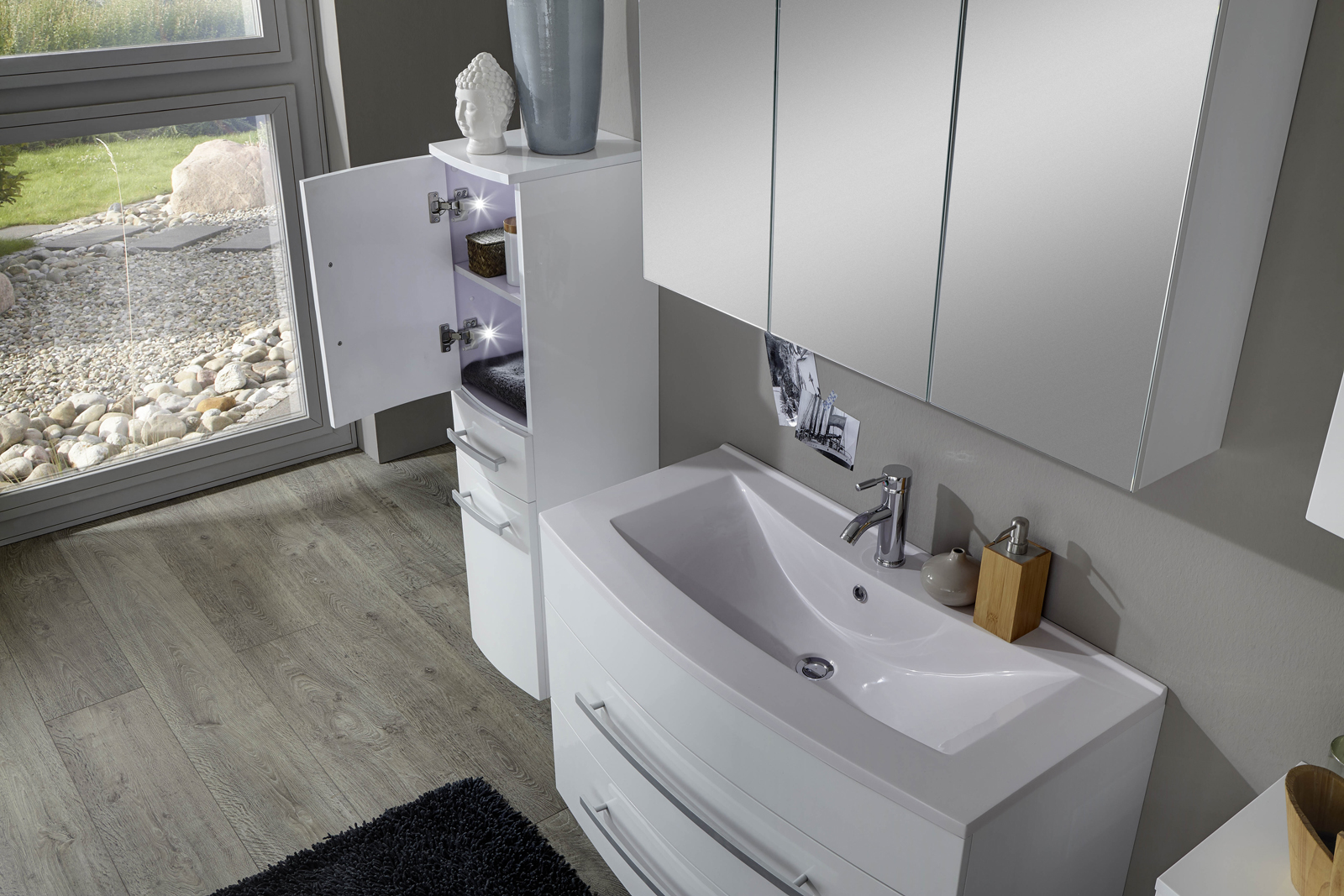 sam 5tlg badezimmer set hochglanz wei 90cm genf auf lager. Black Bedroom Furniture Sets. Home Design Ideas