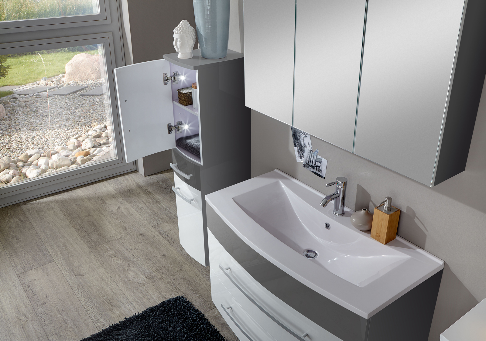 sam 4tlg badezimmer set hochglanz wei grau 90cm genf. Black Bedroom Furniture Sets. Home Design Ideas