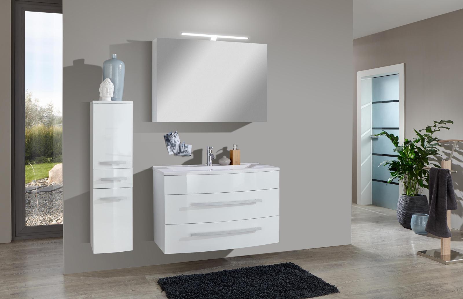sam 3tlg badezimmer set hochglanz wei 90cm genf deluxe. Black Bedroom Furniture Sets. Home Design Ideas