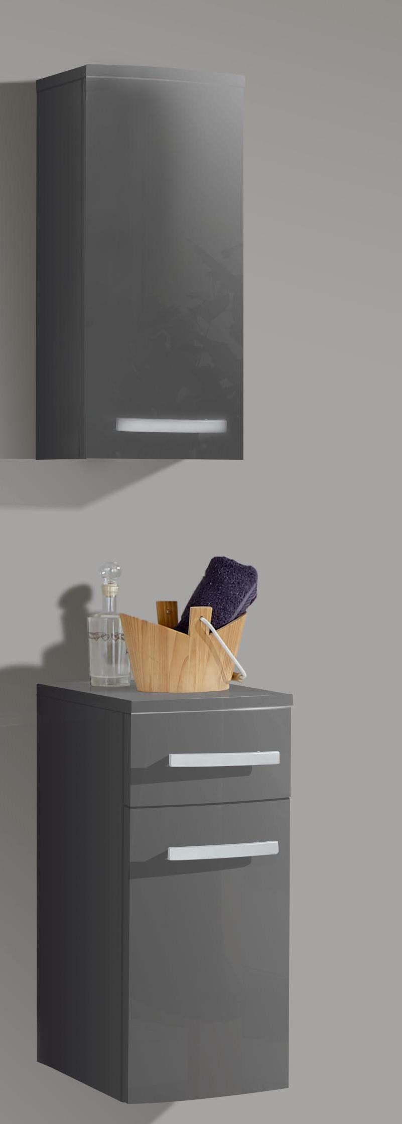 sam 4tlg badezimmer set hochglanz grau 100cm genf deluxe auf lager. Black Bedroom Furniture Sets. Home Design Ideas