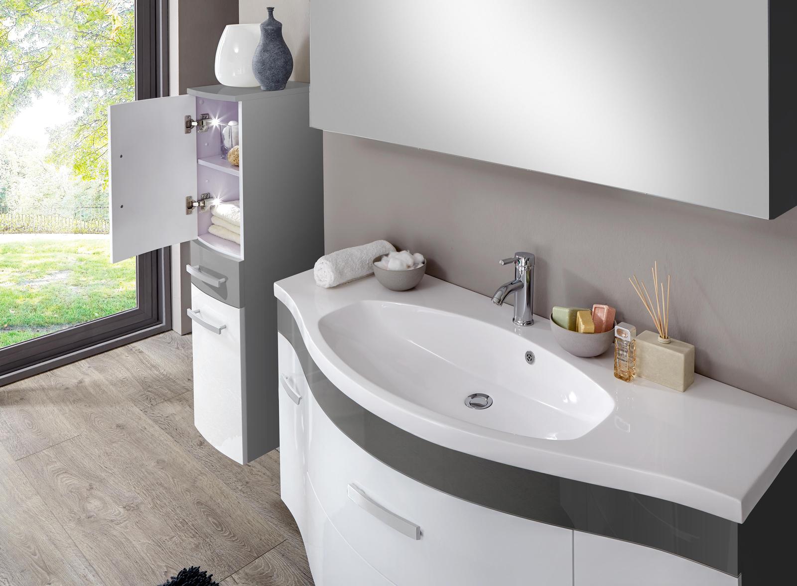 sam 3tlg badezimmer set hochglanz wei grau 130cm lugano deluxe auf lager. Black Bedroom Furniture Sets. Home Design Ideas