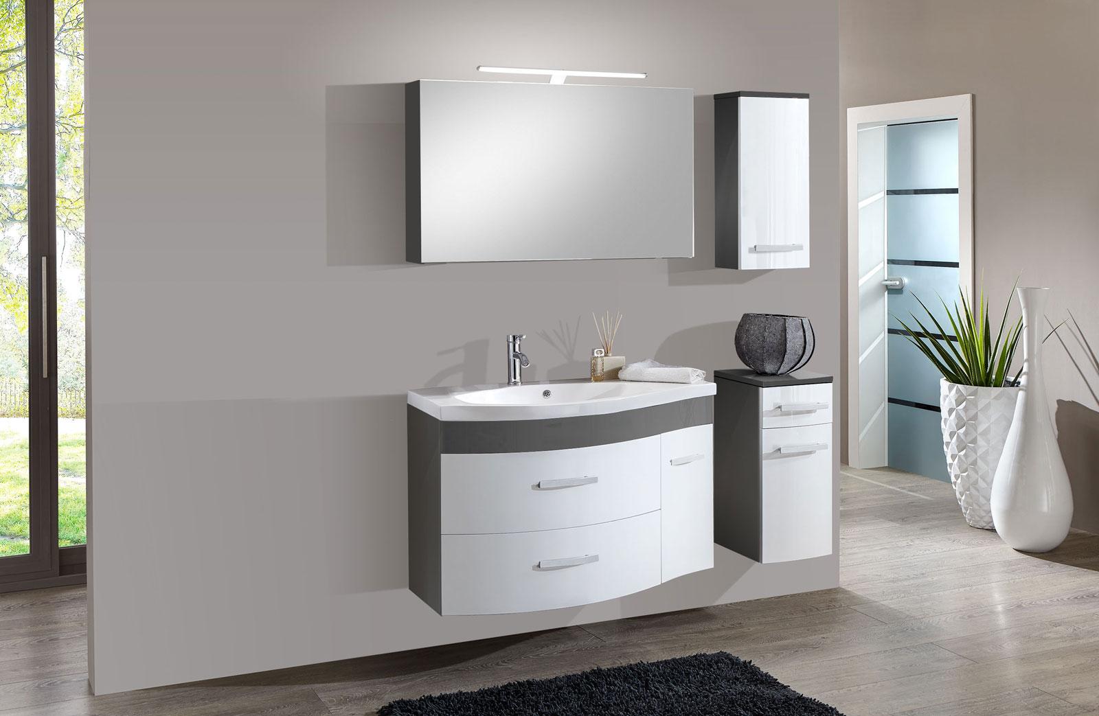 Badezimmer Mülleimer Grau ~ SAM® 4tlg Badezimmer Set Hochglanz weiß grau 110cm Lugano Deluxe Auf