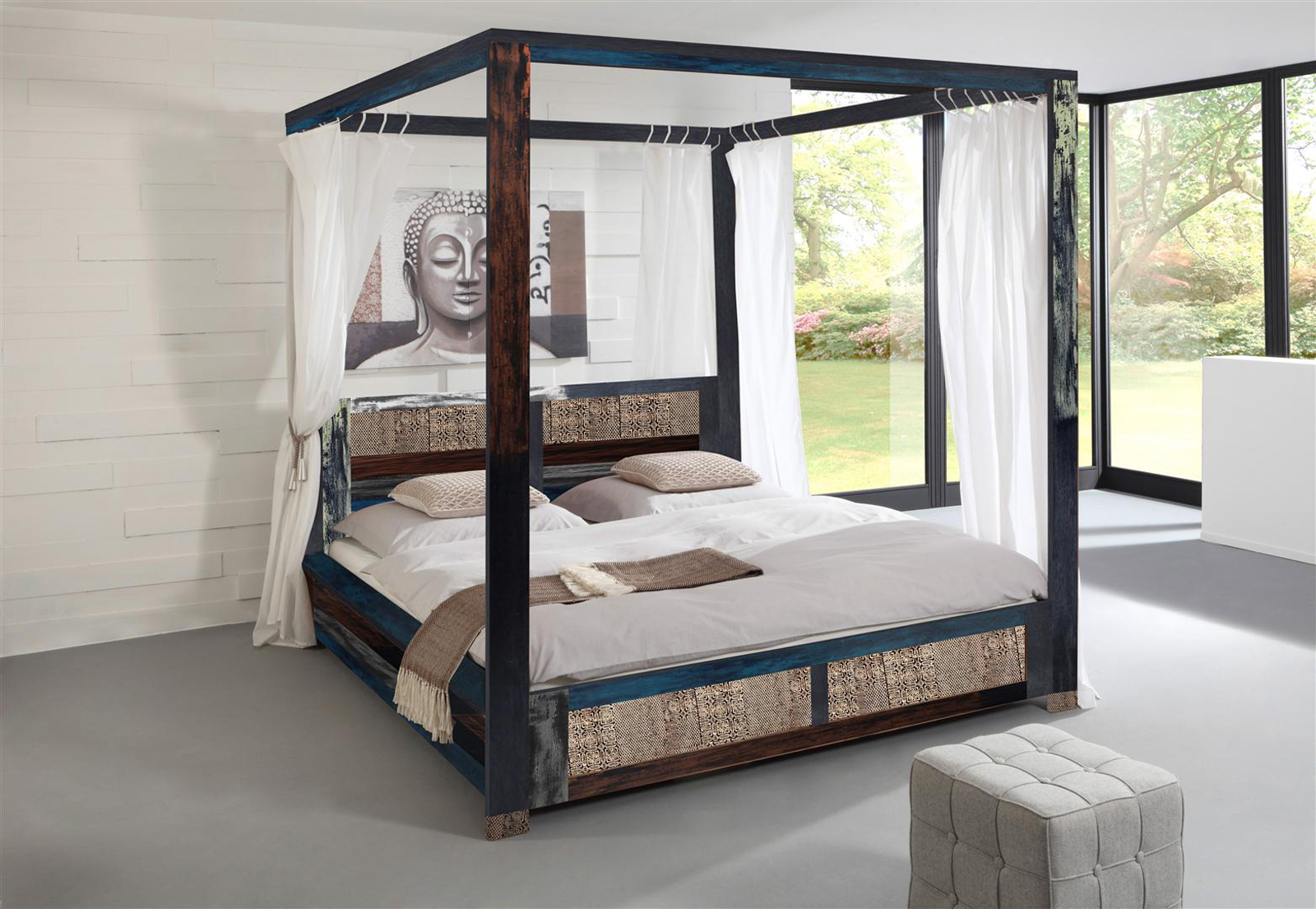 sam vintage himmelbett holzbett metall 160 x 200 cm bunt goa auf lager. Black Bedroom Furniture Sets. Home Design Ideas