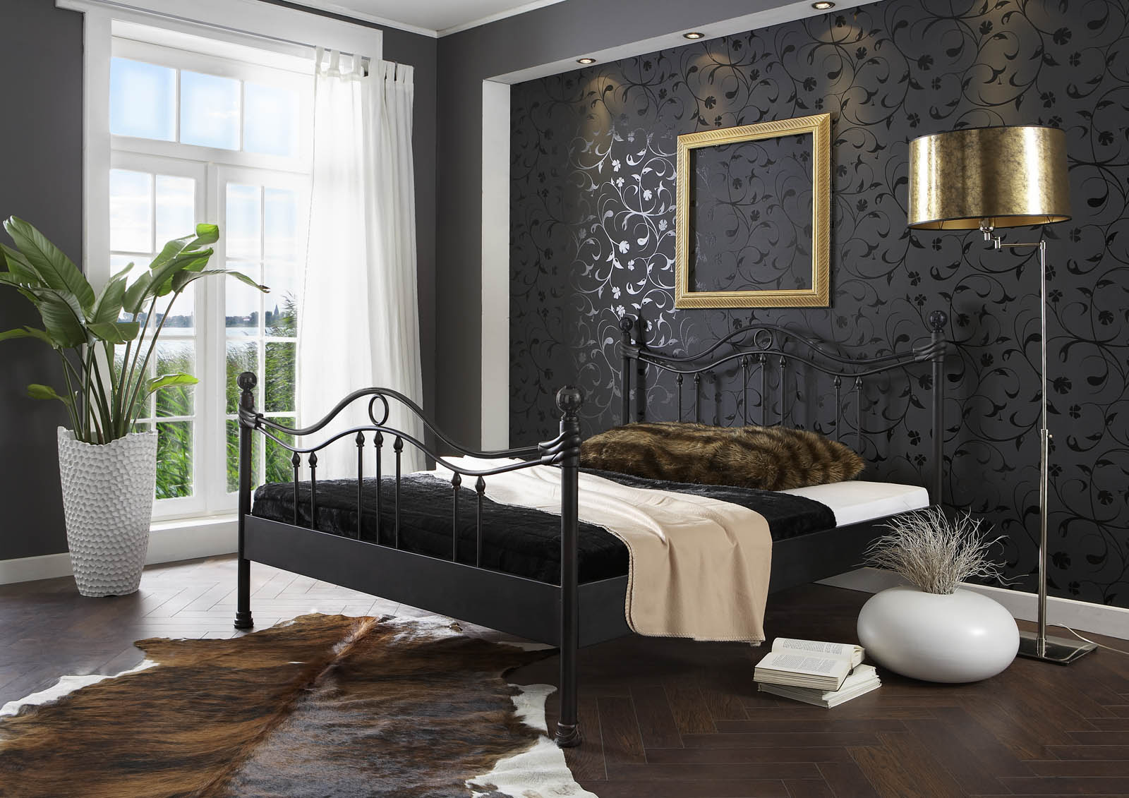 sam metallbett schwarz 180 x 200 cm kea auf lager. Black Bedroom Furniture Sets. Home Design Ideas