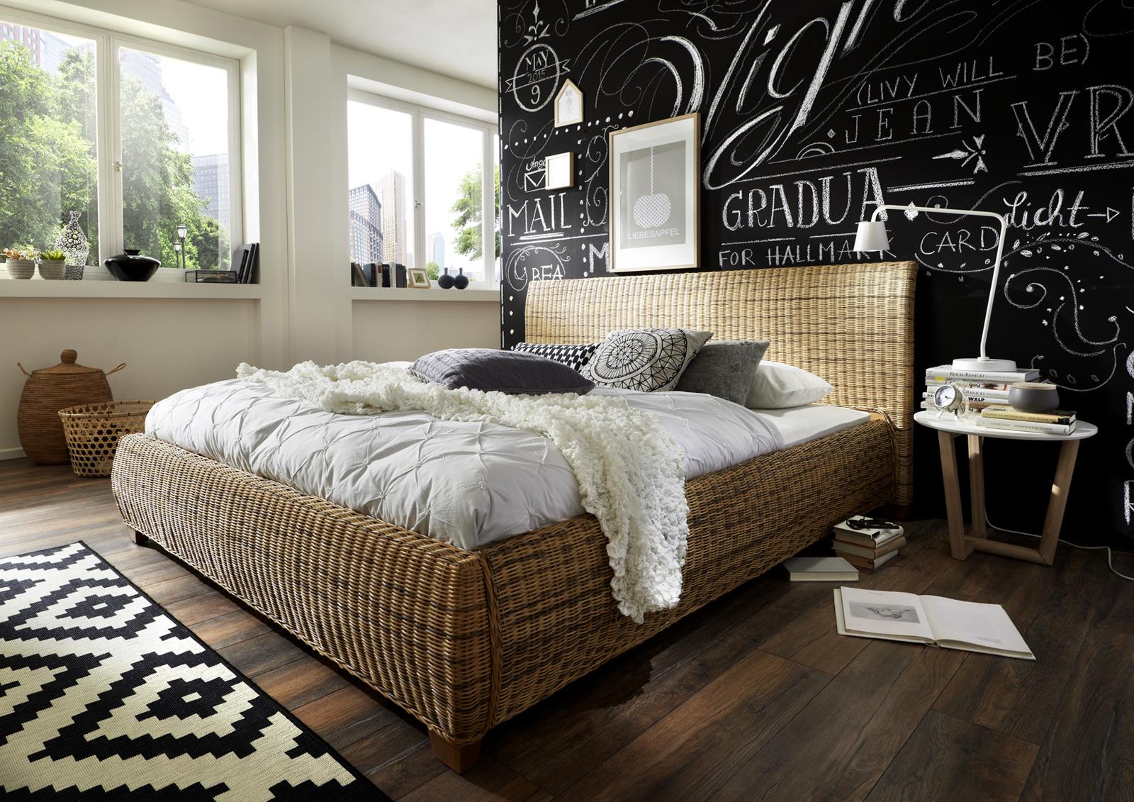 sam rattanbett 140 x 200 cm rattan ngan 9134 auf lager. Black Bedroom Furniture Sets. Home Design Ideas